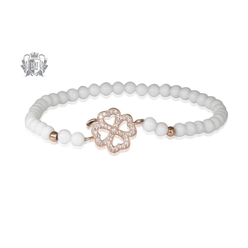 Lucky Clover Friendship Bracelet White Agate Rose Gold