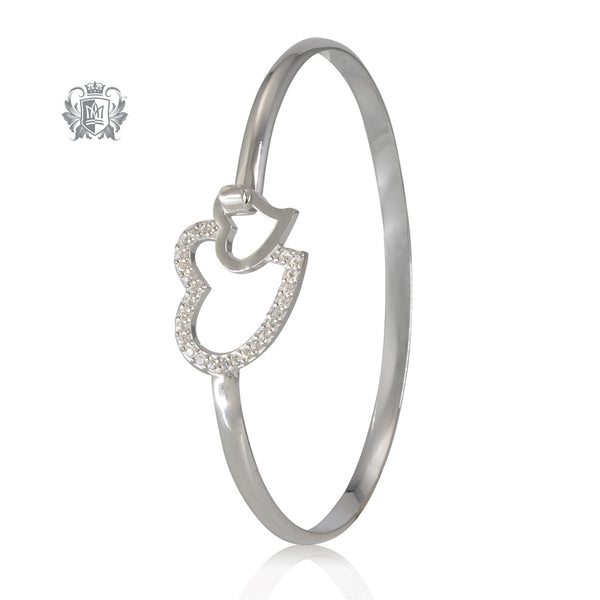Sterling silver bangle with two hearts.