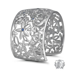 Daisy Wide Cuff Bangle with Sapphire Accents - Metalsmiths Sterling™ Canada