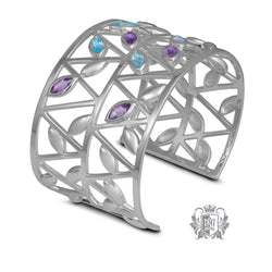 Blue Topaz & Amethyst Petal Bangle - Metalsmiths Sterling™ Canada