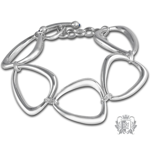 Triangle Link Bracelet with Diamond Accents & Sapphire Bullet Toggle Clasp - Metalsmiths Sterling™ Canada