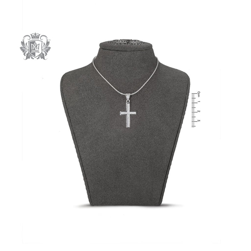 Large Ridged Cross Sterling Silver on Bust