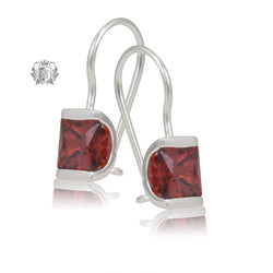 Garnet Cubic Channel Set Hanger Earrings Sterling Silver