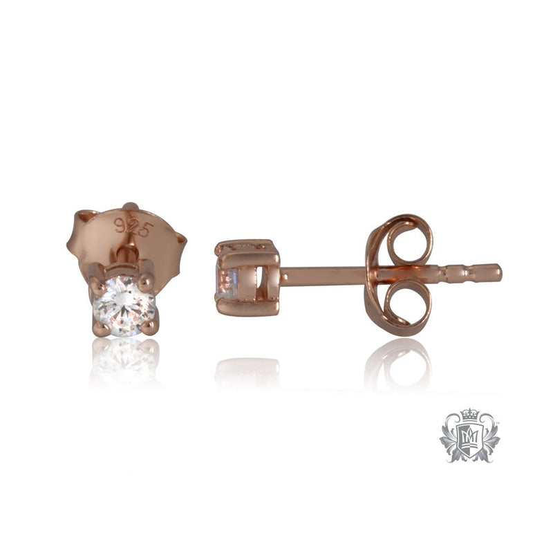Side Prong Set Cubic Studs - Small, Rose Gold Dipped Sterling Silver
