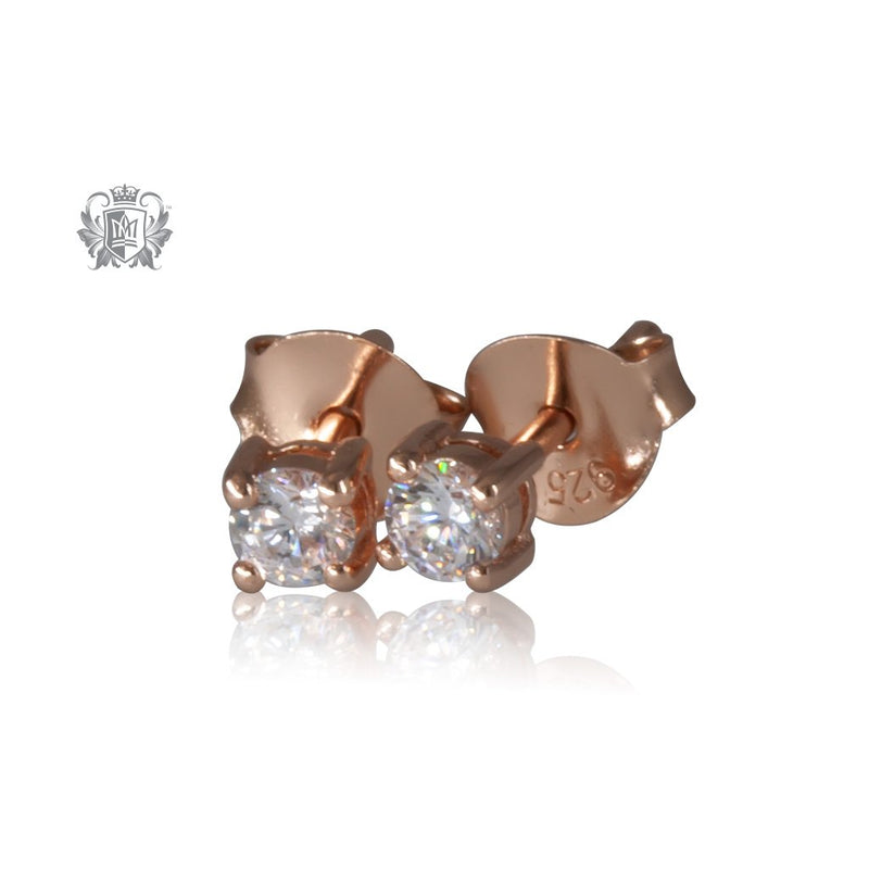 Prong Set Cubic Studs - Small, Rose Gold Dipped Sterling Silver