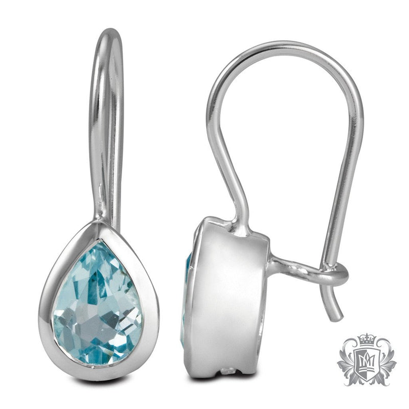 Blue Topaz Large Pear Hangers Sterling Silver