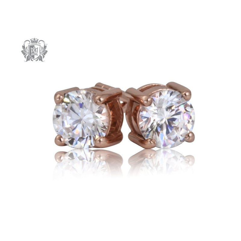 Prong Set Cubic Studs - Medium, Rose Gold Dipped Sterling Silver