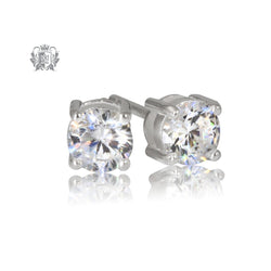 Prong Set Cubic Studs - Medium, Sterling Silver
