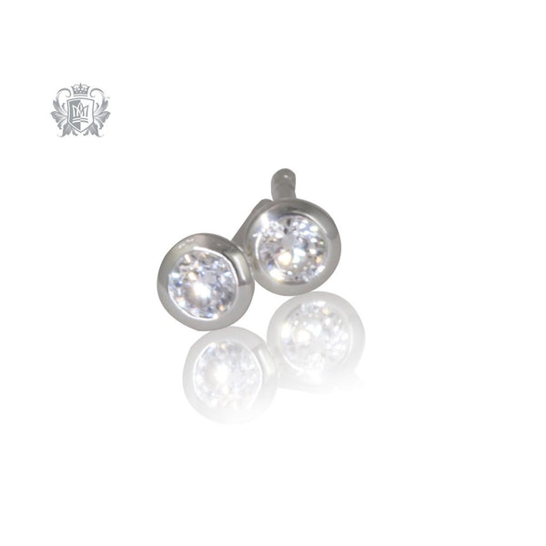 Small Cubic Bezel Studs Sterling Silver