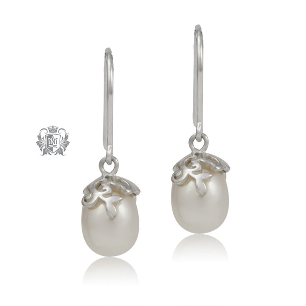 Curlicue Bloom Pearl Earrings