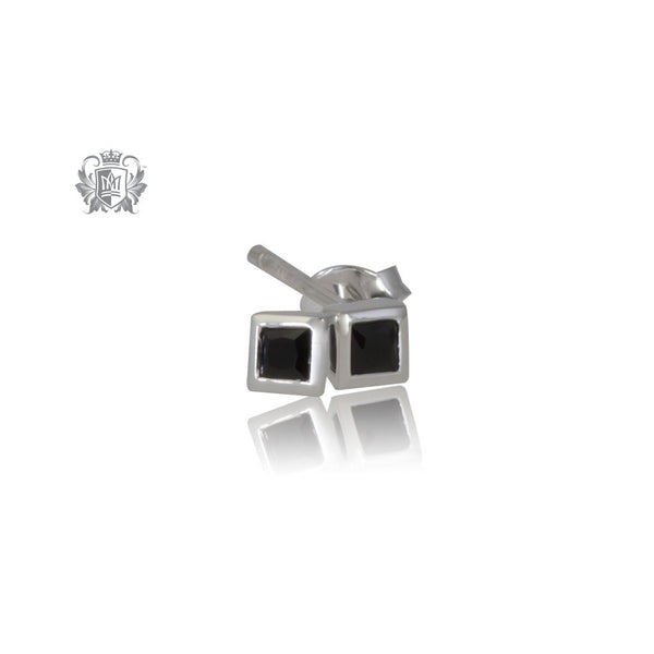 Small Square Black Cubic Studs - front