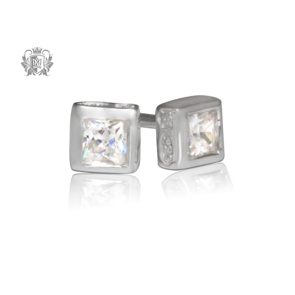 Small Square Cubic Studs 3.5mm - front