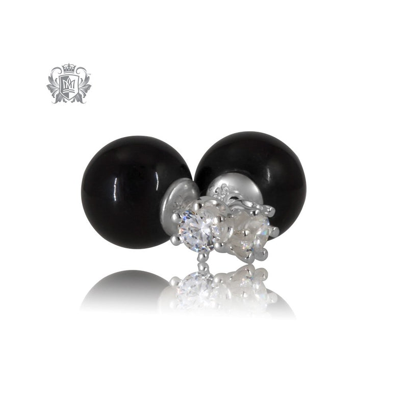 Double Stud Earrings - Black Onyx & Prong Set Cubic - Metalsmiths Sterling™ Canada