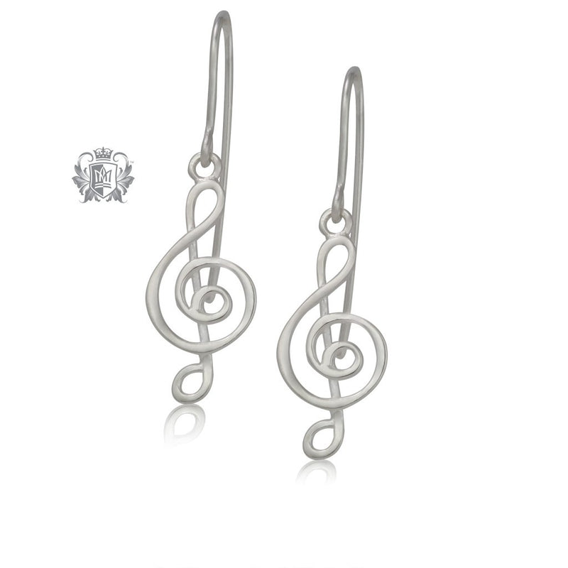 Modern Treble Clef Earrings Metalsmiths Sterling Silver