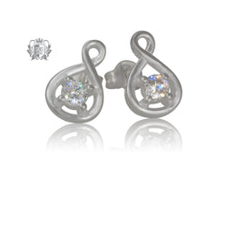 Sparkling Loop Cubic Stud Earrings