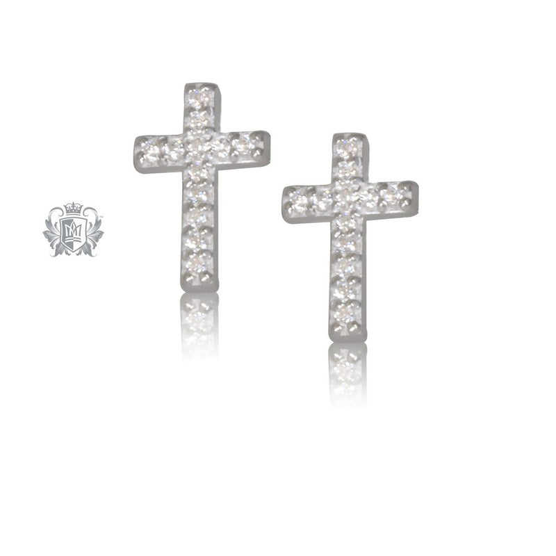 Cubic Cross Stud Earrings Metalsmiths Sterling Silver