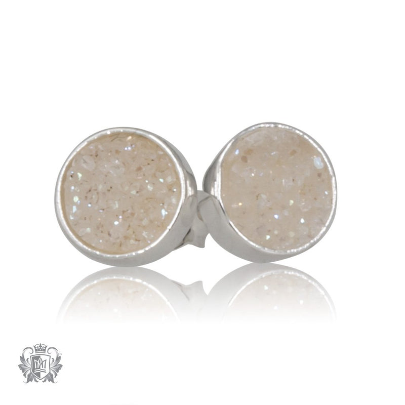 White Druzy Round Stud Earrings Metalsmiths Sterling Silver