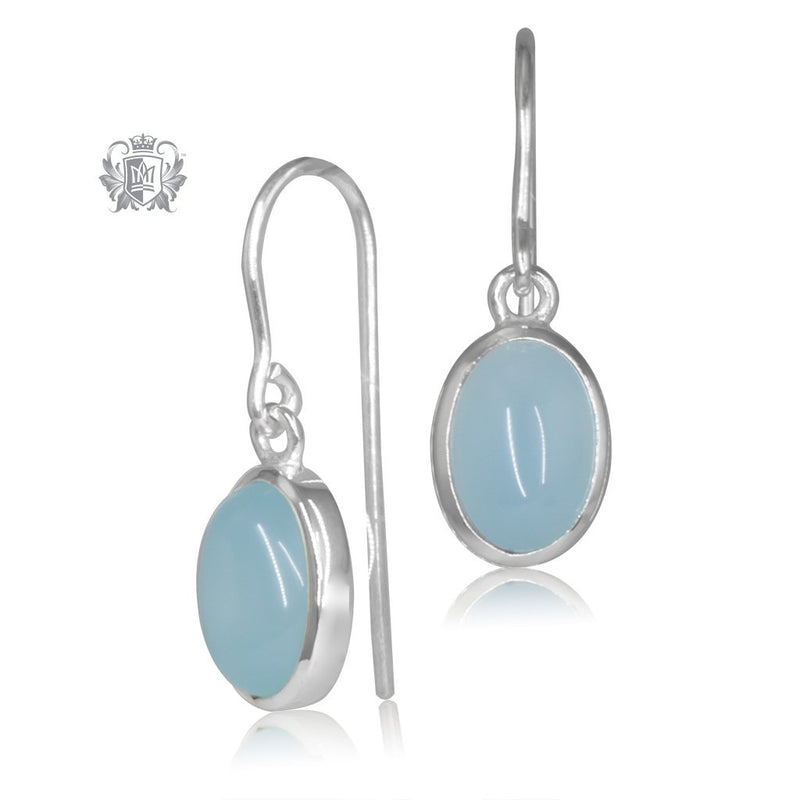 Sky Blue Agate JellyBean Hanger Earrings Sterling Silver