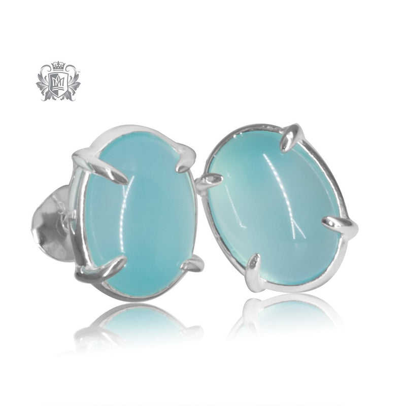 Aquamarine Agate Jellybean Prong Set Stud Earrings Sterling Silver