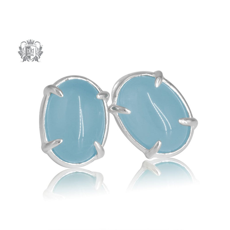 Sky Blue Agate Jellybean Prong Set Stud Earrings