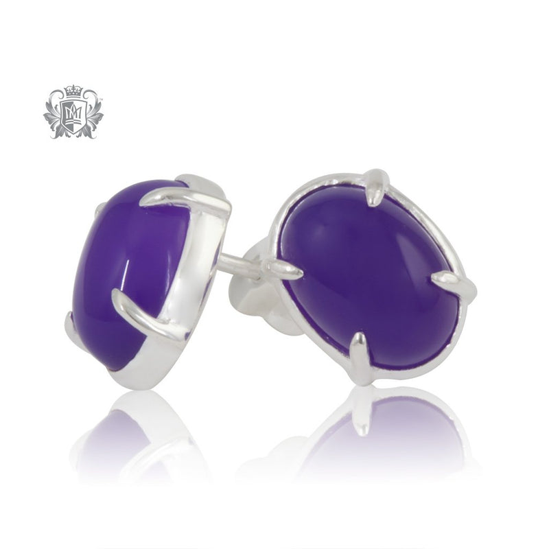 Violet Agate Jellybean Prong Set Stud Earrings Sterling Silver