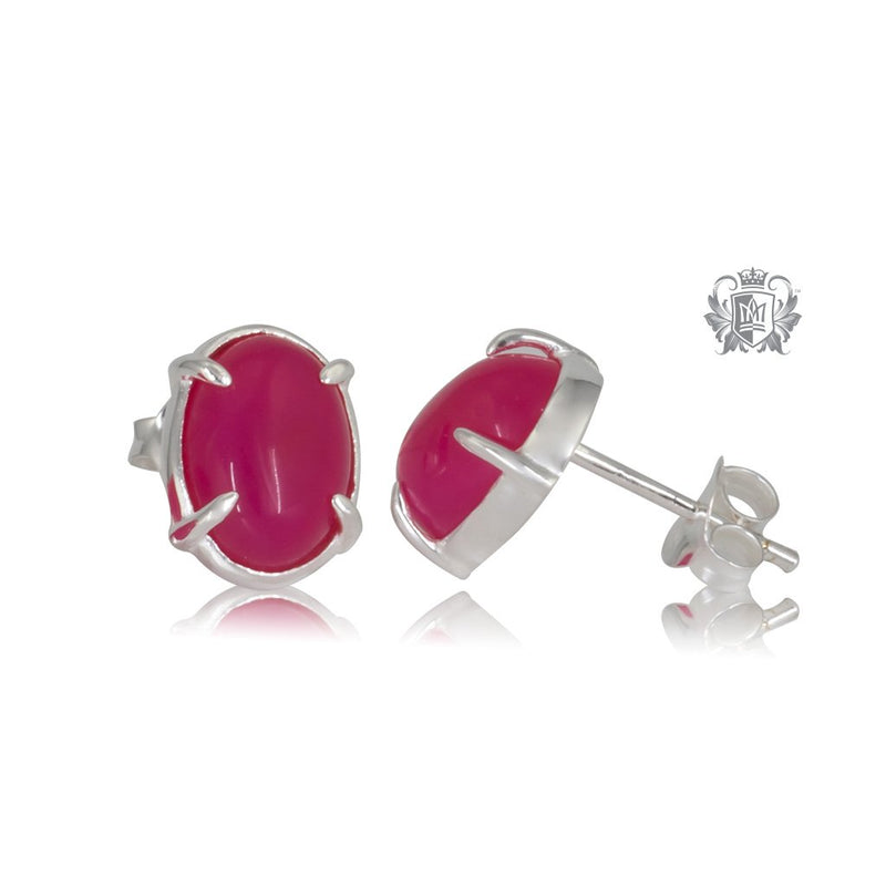 Raspberry Agate Jellybean Prong Set Stud Earrings Sterling Silver Front