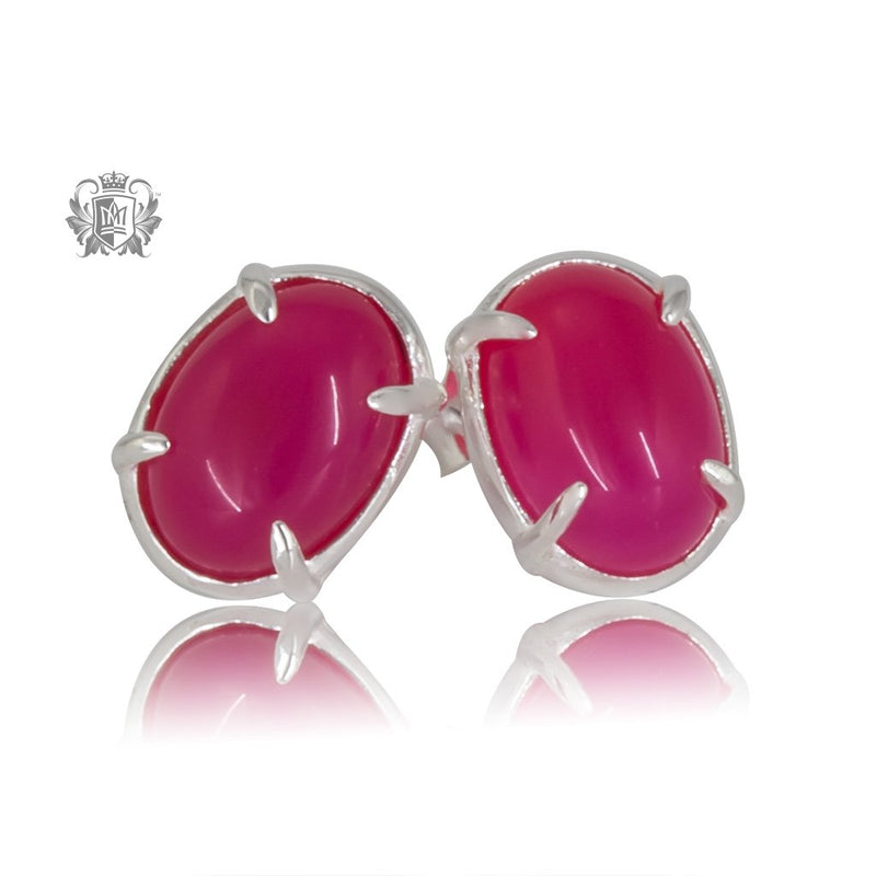 Raspberry Agate Jellybean Prong Set Stud Earrings Sterling Silver
