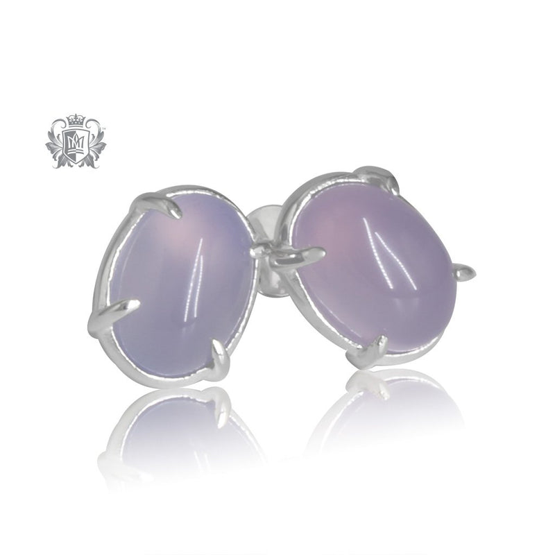 Lilac Agate Jellybean Prong Set Stud Earrings Sterling Silver