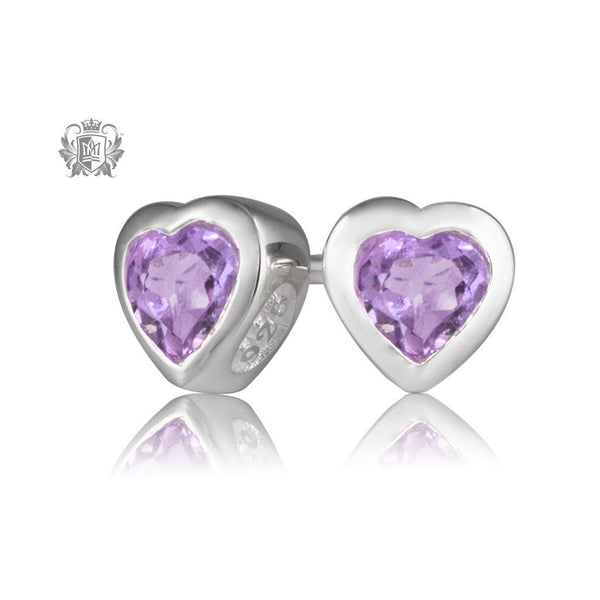 Metalsmiths Sterling Silver Amethyst Heart Stud Earrings