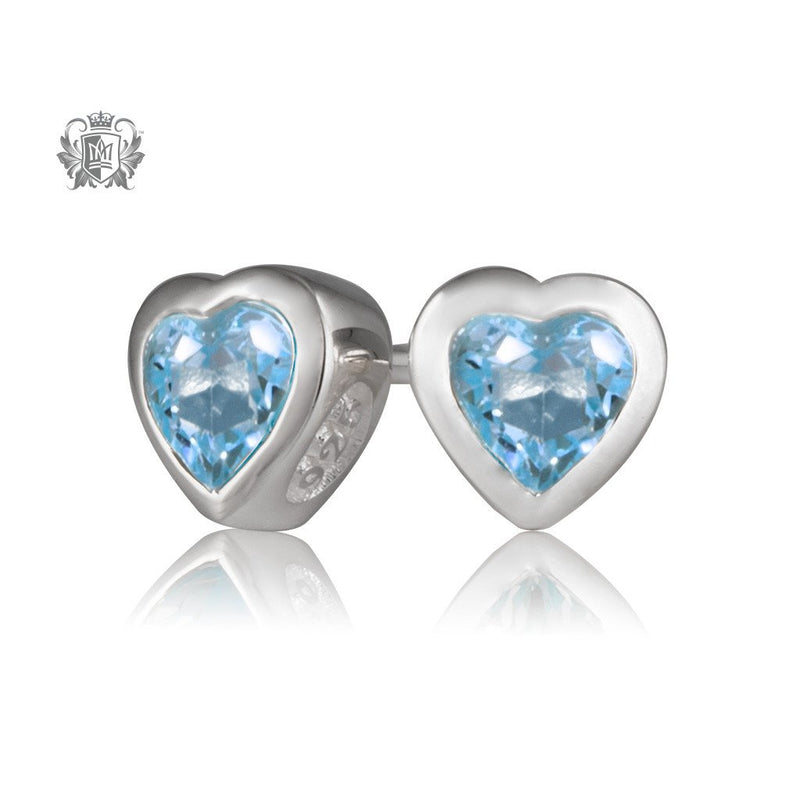 Metalsmiths Sterling Silver Blue Topaz Heart Stud Earrings