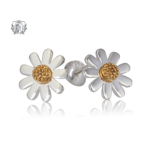 Silver daisy earring with a gold centre.