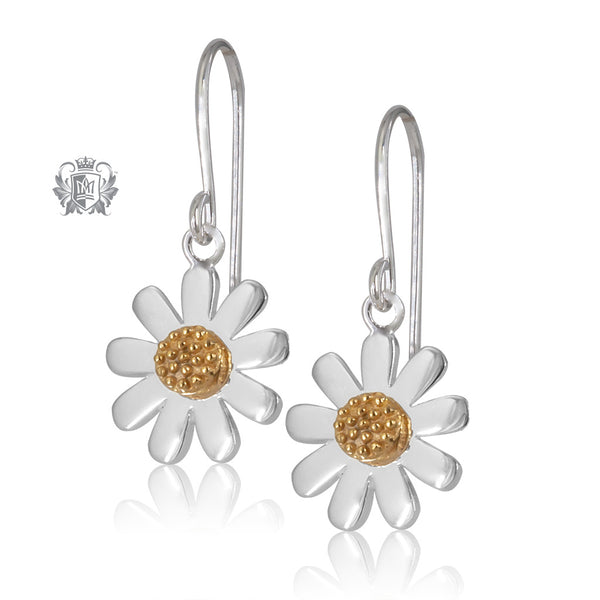 Silver daisy dangle earrings with gold centre.
