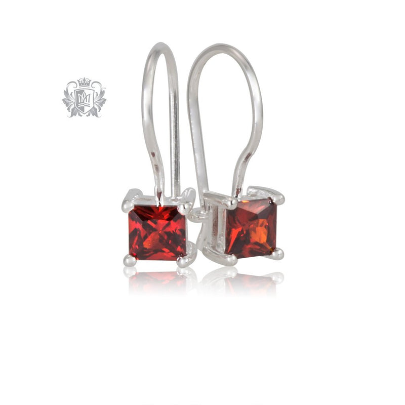 Garnet Cubic Prong Set Hanger Earrings Sterling Silver