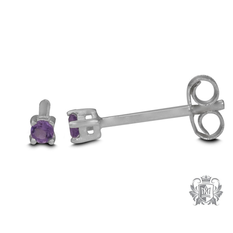 Side View Amethyst Small Prong Set Studs Metalsmiths Sterling Silver