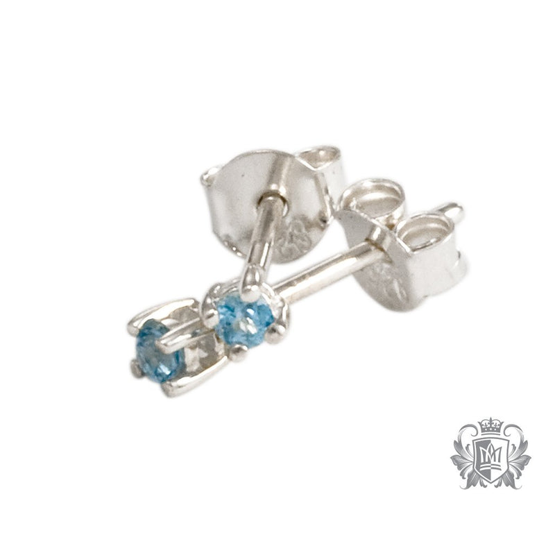 Blue Topaz Small Prong Set Studs Metalsmiths Sterling Silver