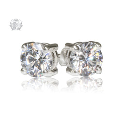 Prong Set Cubic Studs - Large, Sterling Silver