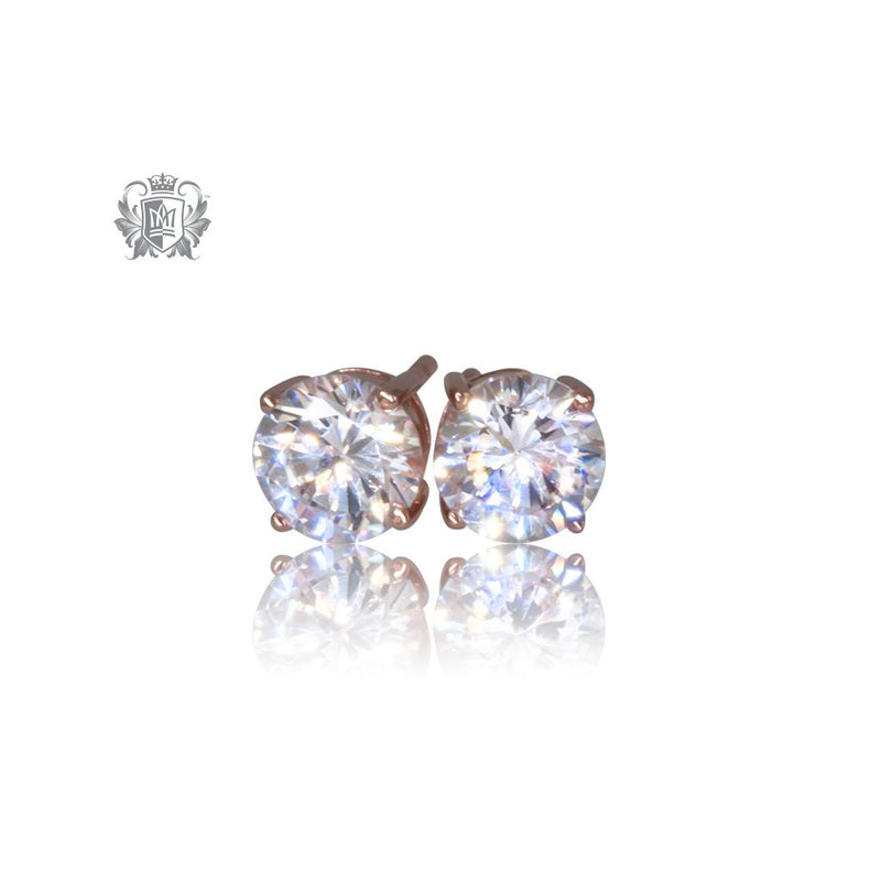 Prong Set Cubic Studs - Large, Rose Gold Dipped Sterling Silver
