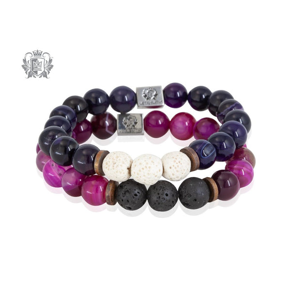 Perfect Scent Lava Friendship Bracelets Purple Agate Pink Agate