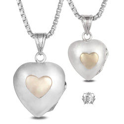 Heart Locket with 10K Gold Accent - Small & Large