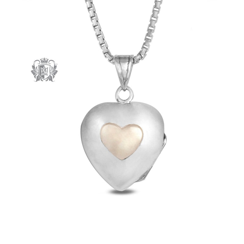 Heart Locket with 10K Gold Accent Large