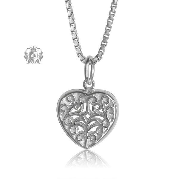 Scroll Heart Locket Sterling Silver