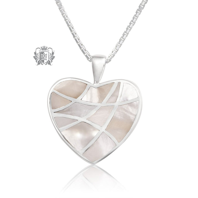 Heart Mother of Pearl Mosaic Pendant Metalsmiths Sterling Silver