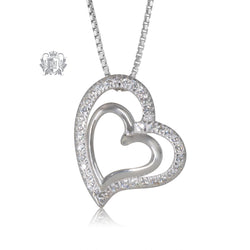 Double Pave Heart Pendant Metalsmiths Sterling Silver