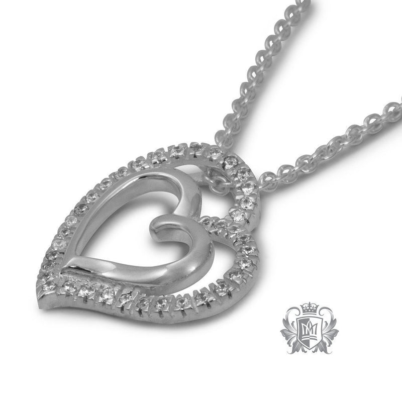 Double Pave Heart Pendant Sterling Silver Side