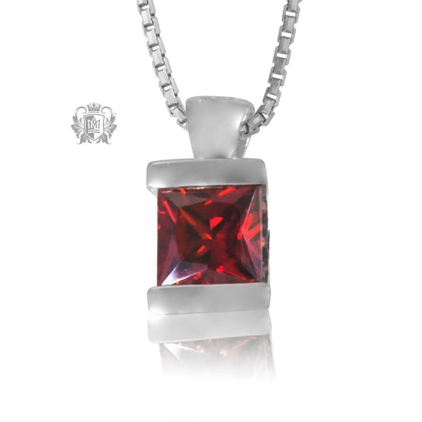 Garnet Cubic Channel Set Pendant Sterling Silver