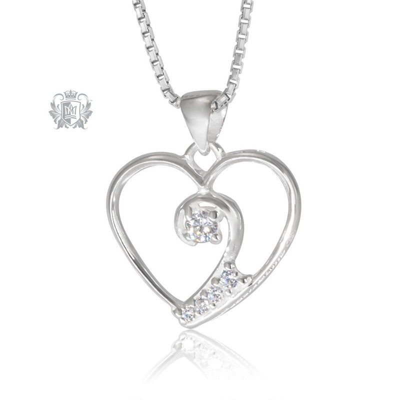 Metalsmiths Sterling Silver Large Cubic Twinkle Heart Pendant