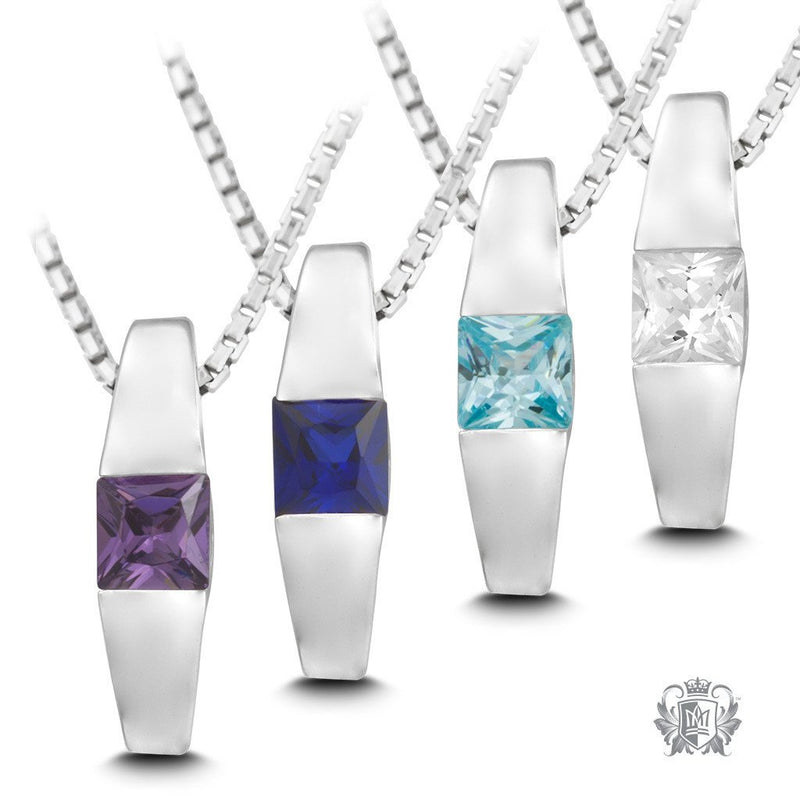 Square Channel Set Pendant -  Gemstone Pendants - 1