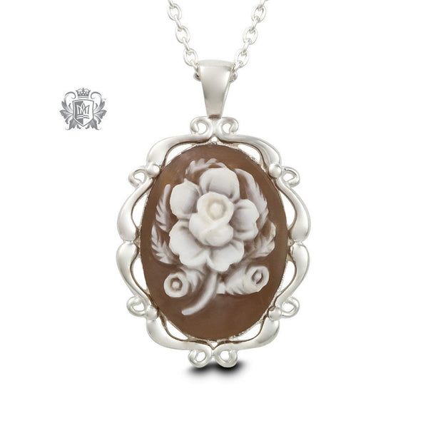 Artisan Carved Rose Cameo Necklace