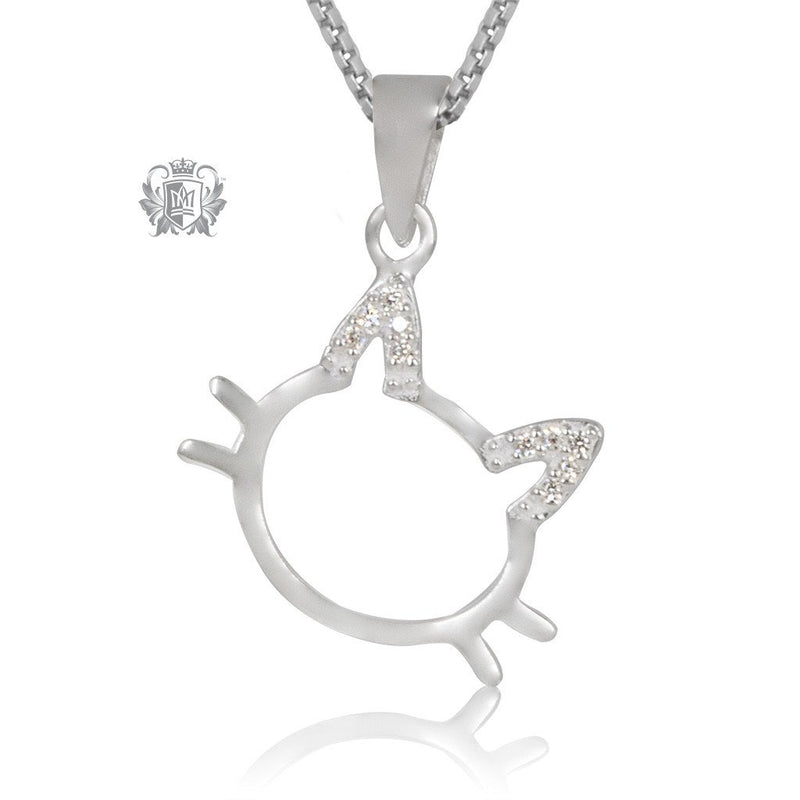 Metalsmiths Sterling Silver Sparkling Ears Cat Pendant