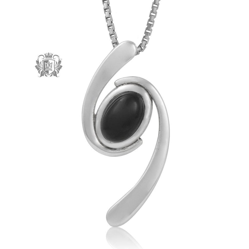 Metalsmiths Sterling Silver Black Onyx Winsome Whirl Pendant